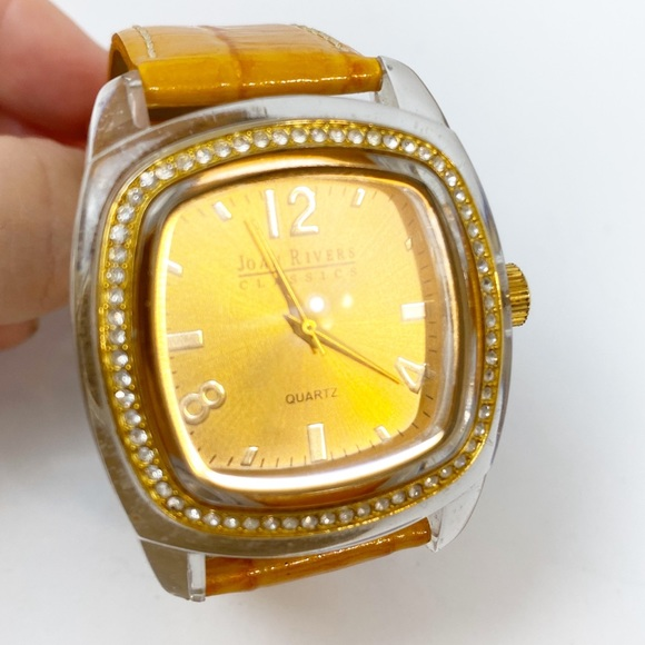 Joan Rivers Accessories - Joan Rivers Watch Yellow Gold Leather Large Face